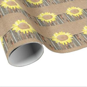 Burlap Barnwood Barbed Wire Sunflower Gift Wrapping Paper