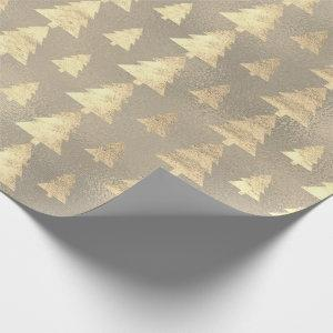 Burlap Gray Cottage Gold Grunge Christmas Tree Wrapping Paper