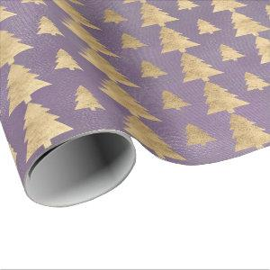 Burlap Linen Cottage Gold Purple Christmas Tree Wrapping Paper