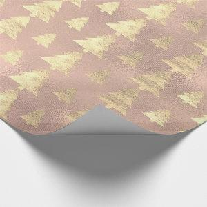 Burlap Pink Cottage Gold Grunge Christmas Tree Wrapping Paper