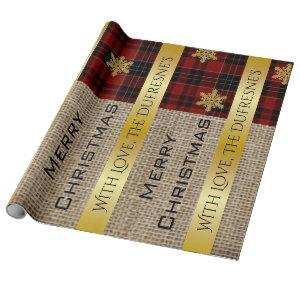 Burlap, Plaid & Gold Personalized Wrapping Paper