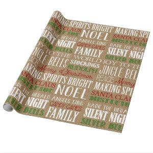 Burlap Typography Rustic Christmas Wrapping Paper