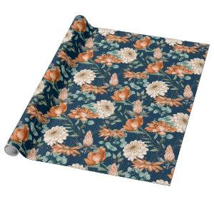 Burnt Orange Floral Greenery Pattern Wrapping Paper