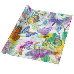 Butterflies and Flowers Wrapping Paper
