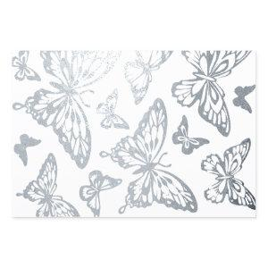 Butterfly Chic | Metallic Silver Kaleidoscope Foil Wrapping Paper Sheets
