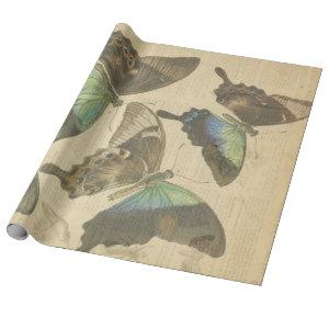 Butterfly French Dictionary Decoupage posters Wrapping Paper