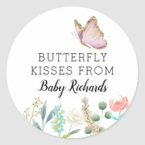 Butterfly Kisses Sweet Baby Shower Favor Classic Round Sticker