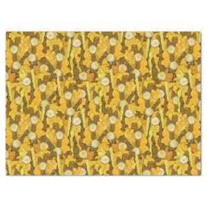 Cacti Camouflage, Floral Pattern, Golden Yellow Tissue Paper