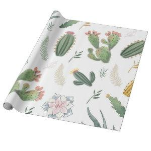 Cacti design wrapping paper