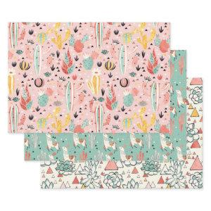Cactus and Llama Wrapping Paper Sheets