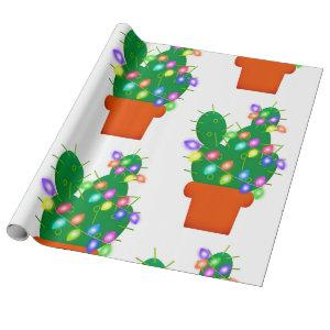 cactus christmas tree wrapping paper