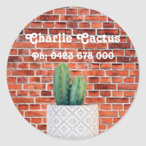 Cactus Personalised Name/Contact Classic Round Sticker
