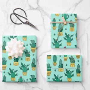 CACTUS POT PATTERN DESIGN WRAPPING PAPER SHEETS