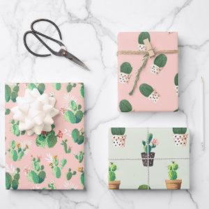 Cactus Succulent pink blue cute pattern Wrapping Paper Sheets