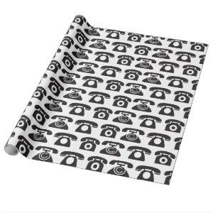 Call Me Retro Telephone Wrapping Paper Template