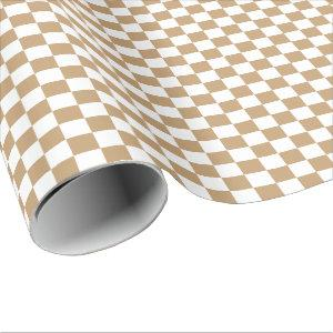 Camel Brown/White Checkered Wrapping Paper