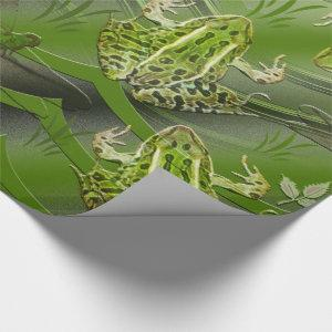 Camo Frogs Dragonflies Wrapping Paper