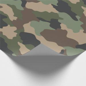 Camouflage Woodland Camo Military Khaki Tan Black Wrapping Paper