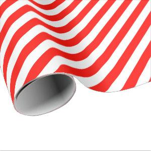 Candy Apple Red Diagonal Stripe Wrapping Paper