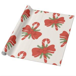 Candy Cane & Bow Cream Ivory Holiday Christmas Wrapping Paper