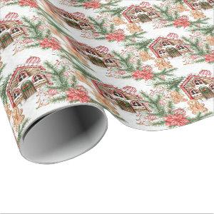 Candy cane house, gingerbread man, poinsettia wrapping paper