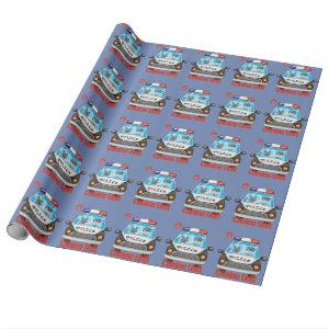 Canine Unit Policeman and Police Dog In Police Car Wrapping Paper