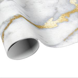 Carrara Marble White Gray Golden Strokes Minimal Wrapping Paper