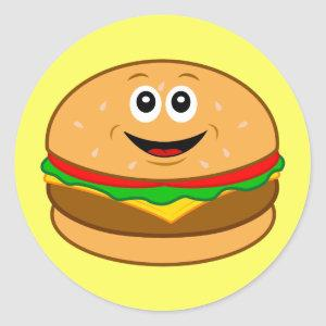 Cartoon Cheeseburger Classic Round Sticker