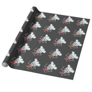 Cartoon chef cook pattern wrapping paper
