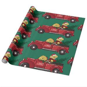Cartoon Goldendoodles Red Christmas Truck Wrapping Paper