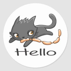 Cartoon Gray Kitten Kitty Love Hello Grey Cute Cat Classic Round Sticker