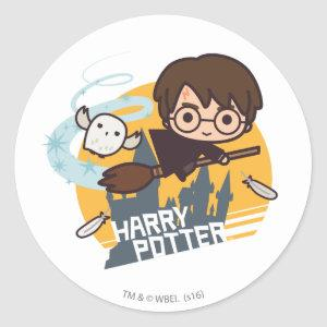 Cartoon Harry and Hedwig Flying Past Hogwarts Classic Round Sticker