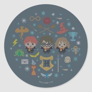 Cartoon Harry Potter Cross-Stitch Collage Classic Round Sticker