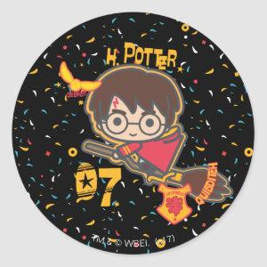 Cartoon Harry Potter Quidditch Seeker Classic Round Sticker