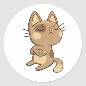 Cartoon Kitten Brown Sassy Kitty Cute Cat Classic Round Sticker