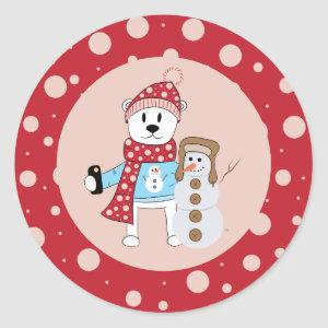 Cartoon Polar Bear and Snowman Stickers