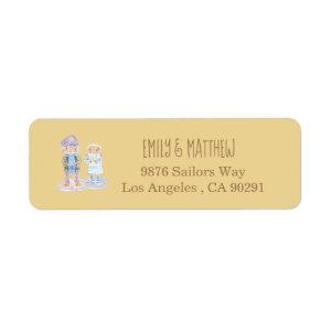 Cartoon Sea Otter Sand Color Return Address Labels