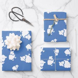 Cartoon Sheep on blue background Wrapping Paper Sheets
