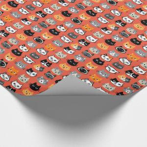 Cat Faces Pattern | Cool Kitty Cat Lover's Wrapping Paper