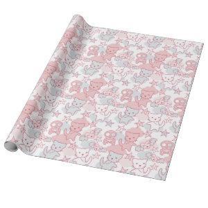 Cat Goth Skull Japanese Style Kawaii Heart Cloud Wrapping Paper