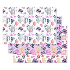 Cat Lovers Pattern Birthday Wrapping Paper Sheets