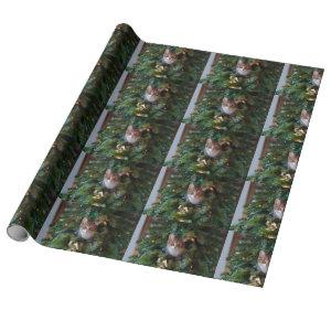 Cat on Christmas tree Wrapping Paper