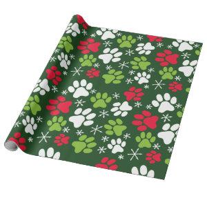 Cat Paw Prints and Snowflakes Red Green Christmas