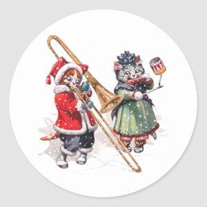 Cat Plays Trombone in the Snow Classic Round Sticker