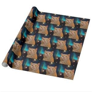 Cat watching the space wrapping paper