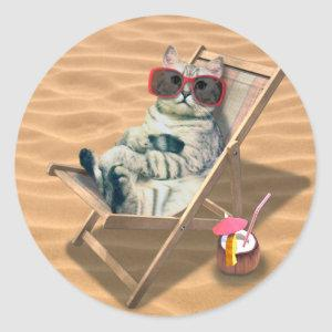 Cat with sunglass in the beach chair classic round sticker