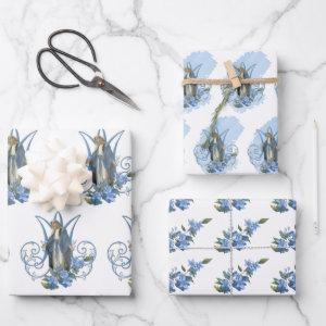 Catholic Virgin Mary Religious Blue Floral   Sheets