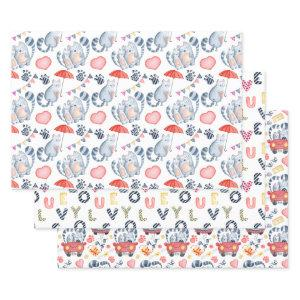 Cats in Love Pattern All Occasion Wrapping Paper Sheets