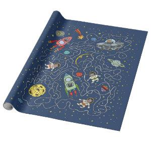 Cats in space wrapping paper