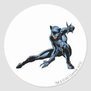 Catwoman crouches classic round sticker